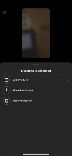 Instagram Live stoppen