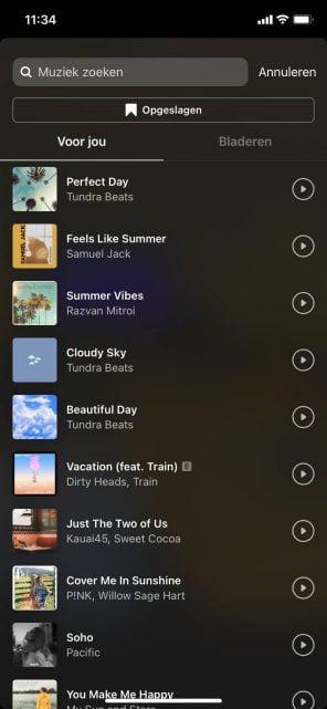 Muziek toevoegen Instagram Stories