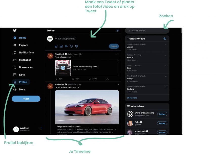 Timeline Twitter uitleg Twitter marketing voor bedrijven